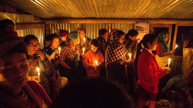 Veillée pascale au Népal