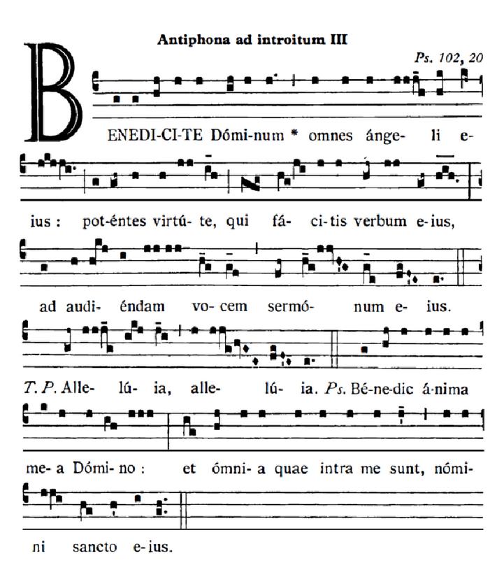 """l'introït """"Benedícite Dóminum"""" de la fête des Saints Anges gardiens"""