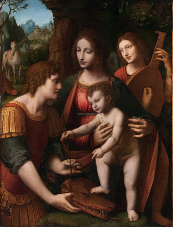 Luini , Vierge à l'Enfant avec saint Georges et un ange musicien