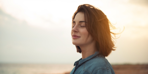 Woman, Closed eyes, Smile