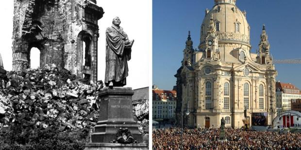 A Dresde, la « Frauenkirche » a été presque entièrement détruite pendant la Seconde Guerre mondiale.