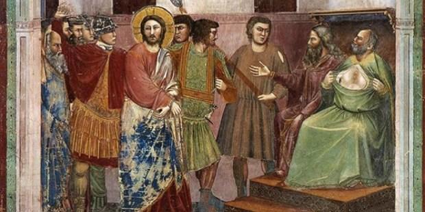 Giotto, Jésus devant Caïphe