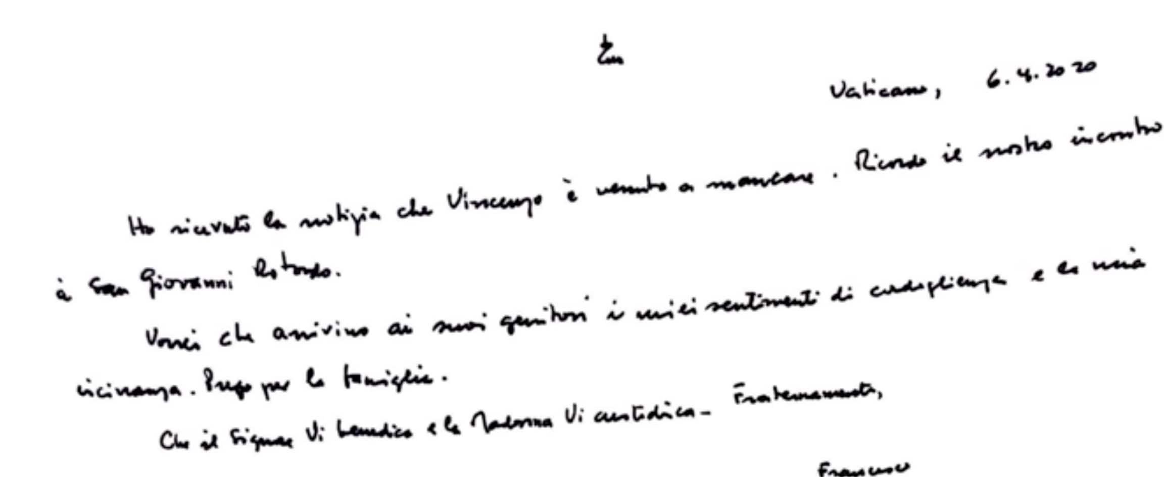 Lettre du pape François à la famille de Vincenzo