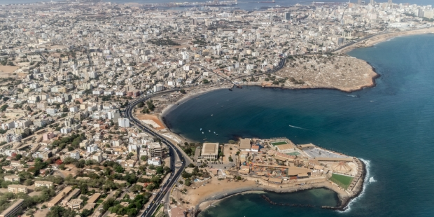 Vue aérienne de la ville de Dakar, Sénégal.