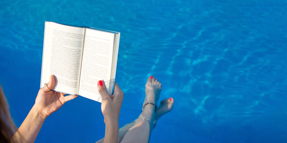 WOMAN, BOOK, SEA