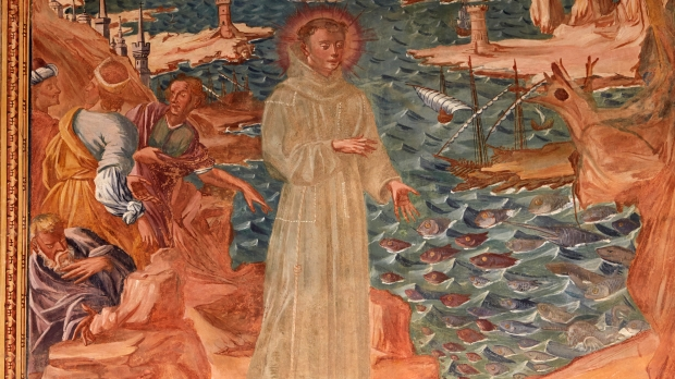 ST FRANCIS, Fresco in the cloister of Santa Caterina's basilica, Galatina, painted by Br. Joseph of Gravina in 1696. St Francis of Assisi.