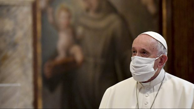 pope francis with a mask