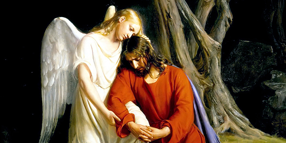 An angel comforting Jesus before his arrest in the Garden of GethsemaneAn angel comforting Jesus before his arrest in the Garden of Gethsemane
