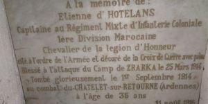 Plaque Etienne d'Hotelans