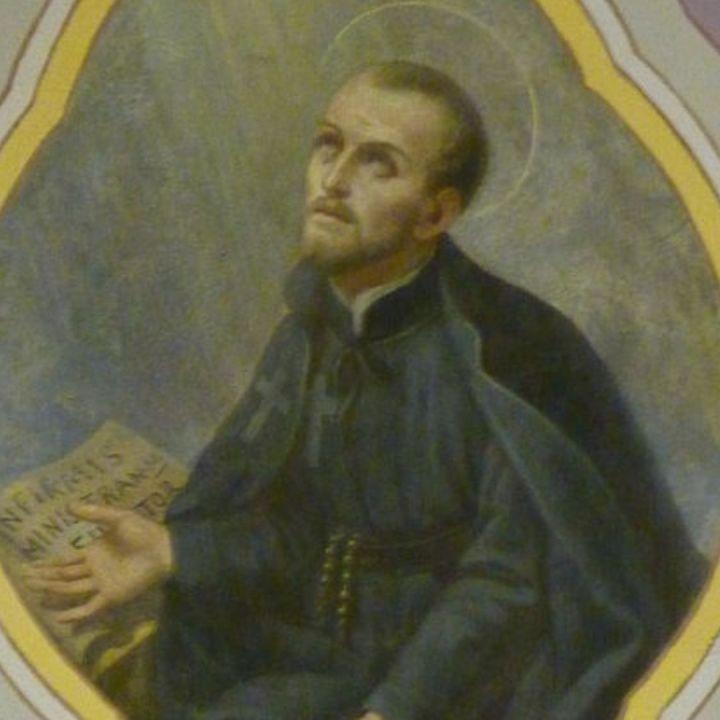 Fresque de Saint Camille de Lellis dans la salle de conférences de la bibliothèque régionale à Aoste